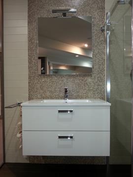 Mobile da bagno sospeso L85cm con specchio a muro