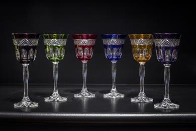 Bicchieri colorati ed intarsiati