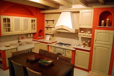 Cucine in muratura e pittura rossa
