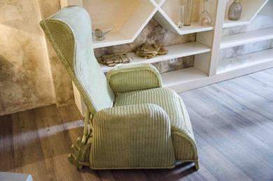 LLOYD LOOM poltrona relax reclinabile verde