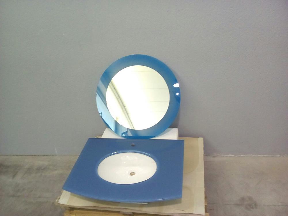Lavabo cristallo blu con specchio
